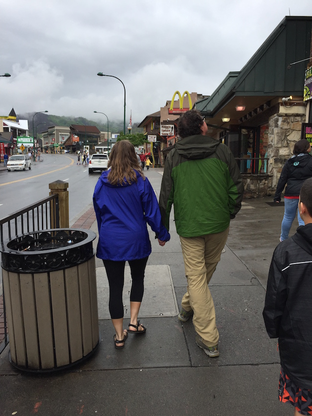 hikers strolling along downtown Gatlinburg, TN