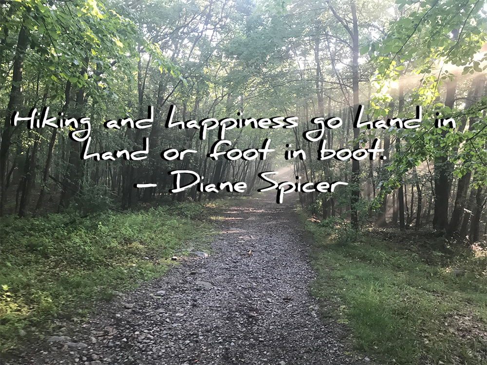 "Quote: ""Hiking and happiness go hand in hand or foot in boot."" Diane Spicer"