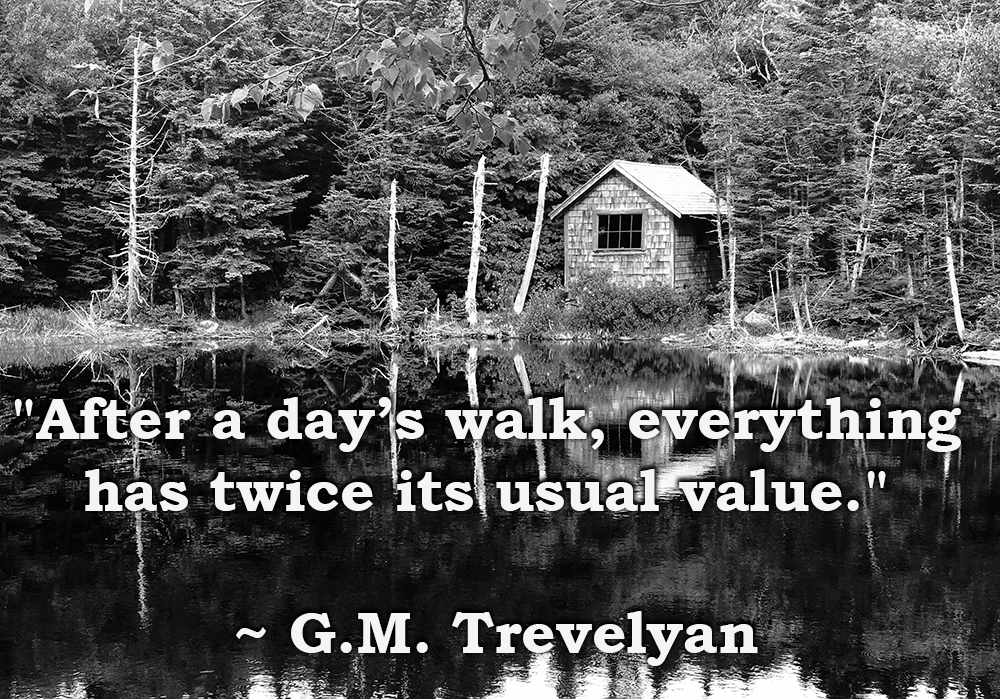 "Quote: ""After a day's walk, everything has twice its usual value."" G.M. Trevelyan"