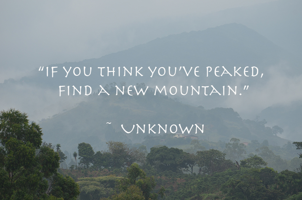 "Quote ""If you think you've peaked, find a new mountain."""