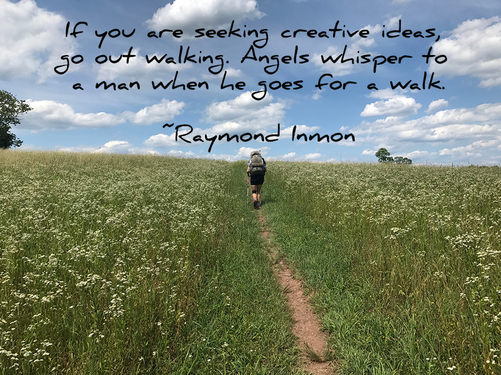 "Quote: ""If you are seeking creative ideas, go out walking. Angels whisper to a man when he goes for a walk."" – Raymond Inmon"